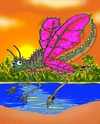Dragon Fly Mixed Media Posters - Dameon the Dragonfly  Poster by Paul Calabrese