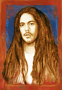 Bob Marley Abstract Prints - Damian Marley - stylised drawing art poster Print by Kim Wang