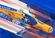 Automobilia Paintings - Damon Hill by Robert Hooper