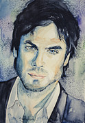 Watercolor Drawings Posters - Damon The Vampire Diaries Poster by Slaveika Aladjova