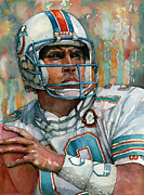 Quarterback Paintings - Dan Marino color painting by Sanely Great