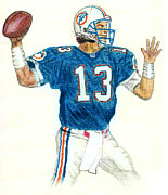 Dan Marino Drawings Framed Prints - Dan Marino Framed Print by Craig Nelson