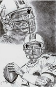 Miami Dolphins Drawings - Dan Marino by Jonathan Tooley