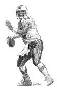 Miami Drawings Framed Prints - Dan Marino QB Framed Print by Harry West