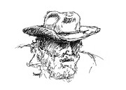 Cowboy  Drawings Metal Prints - Dan Metal Print by Sam Sidders