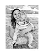 Note Cards Drawings Prints - Dana and Brody at the beach Print by Jack Pumphrey