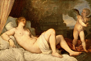 Female Nude Reclined Posters - Danae Poster by Titian