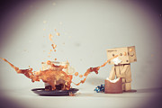 Sweet Pyrography Prints - Danbo And Coffee Print by Thomas Schaller