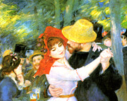 Bougival Art - Dance At Bougival Detail by Pierre Auguste Renoir