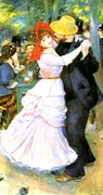 Hat Digital Art Posters - Dance At Bougival Poster by Pierre Auguste Renoir