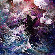 Lightning Storms Digital Art Prints - Dance in the Seas Print by Rachel Christine Nowicki
