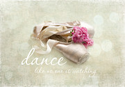 Pointe Shoes Posters - Dance Like No One Is Watching Poster by Sylvia Cook