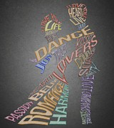 Lovers Digital Art - Dance Lovers Silhouettes Typography by Georgeta Blanaru