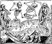 Skeletons Drawings - Dance Macabre Medieval Wood Engraving by