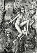 Detailed Drawings Posters - Dance of Chaos Poster by Caroline Jamhour