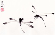 Inkwash Framed Prints - Dance of the Dragonflies Framed Print by Oiyee  At Oystudio