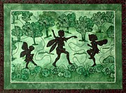 Machine Quilting Tapestries - Textiles Prints - Dance of the Fairies Print by Jean Baardsen