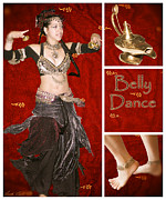 Belly Digital Art Prints - Dance series - Belly Dance Print by Linda Lees