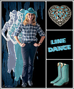 Scoot Posters - Dance series - Line Dance Poster by Linda Lees