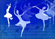 Ballerinas Digital Art Prints - Dance The Blues Away Print by Joyce Dickens