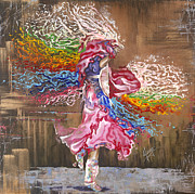 Native American Woman Prints - Dance through the color of life Print by Karina Llergo Salto
