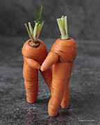 Droll Mixed Media Prints - Dance With Me - Funny Art - Comic Dancing Carrot Couple - Good Luck in Love Energy Print Print by Alex Khomoutov