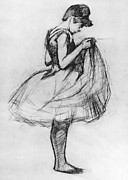 Performer Drawings Prints - Dancer Adjusting her Costume and Hitching up Her Skirt Print by Henri de Toulouse-Lautrec