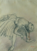 Impressionist Drawings Framed Prints - Dancer Fixing her Slipper Framed Print by Edgar Degas