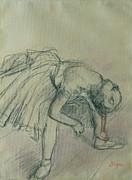 Dancer Fixing Her Slipper Print by Edgar Degas