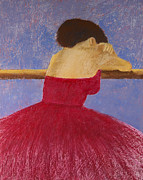 Impressionistic Pastels Posters - Dancer in the Red Dress Poster by David Patterson