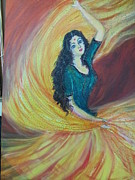 Scarves Painting Originals - Dancer by Nirmala Pillai
