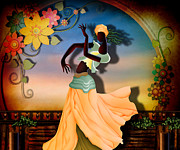 Balcony Mixed Media Posters - Dancer Of The Balcony Poster by Bedros Awak