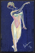 Pencil On Canvas Painting Prints - Dancer on Blue 1998 Print by Cathy Peterson