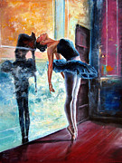 Ballet Dancers Painting Framed Prints - Dancer Framed Print by Osi