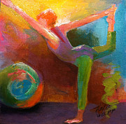 Yoga Pose Paintings - Dancer Pose by Katie Wolff