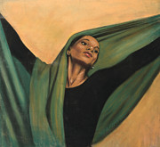 Black Pastels Framed Prints - Dancer with Green Veil Framed Print by L Cooper