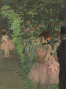 Pink Dresses Prints - Dancers Backstage Print by Edgar Degas