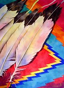 Watercolor Metal Prints - Dancers Feathers Metal Print by Robert Hooper