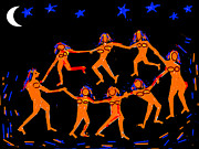 Starry Digital Art Posters - Dancers In A Starry Night Poster by Anand Swaroop Manchiraju