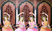 Miniatures Art - Dancers in Mughal Court by Rupa Prakash