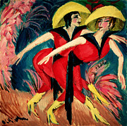 Bold Color Framed Prints - Dancers in Red Framed Print by Ernst Ludwig Kirchner