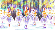 Ballet Drawings Posters - Dancers in the Forest II Poster by Kip DeVore