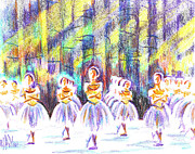 Funny Mixed Media Metal Prints - Dancers in the Forest Metal Print by Kip DeVore