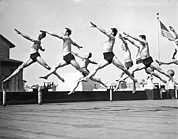 Shawn Framed Prints - Dancers Practice On A Rooftop. Framed Print by Underwood Archives