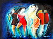 Night Out Paintings - Dancers  by Ted Carlson
