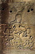 Carving Posters - Dancing Apsaras Ancient Relief Poster by Artur Bogacki