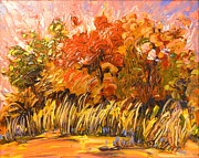 Impressionistic Landscape Paintings - Dancing at Dusk 2011 by Jill PRICE