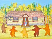 Log Cabin Art Painting Posters - Dancing Bears Poster by Virginia Ann Hemingson