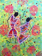 Tribal Art Paintings - Dancing couple  by Priyanka Rastogi