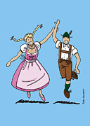 Bayern Framed Prints - Dancing Couple With Dirndl And Lederhosen Framed Print by Frank Ramspott